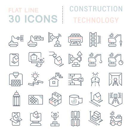 Conjunto de iconos de líneas vectoriales de tecnología de la construcción para aplicaciones, web y conceptos modernos.