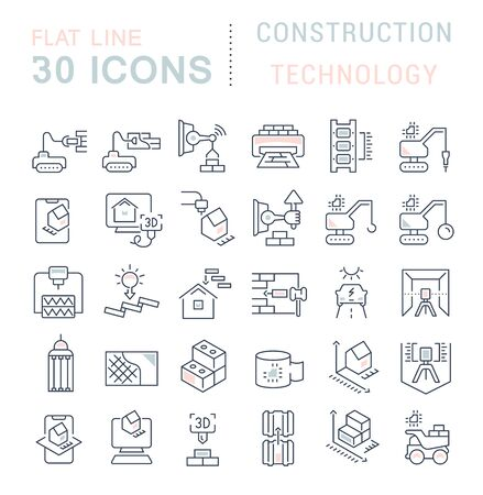 Set di icone della linea vettoriale della tecnologia di costruzione per concetti moderni, web e app.