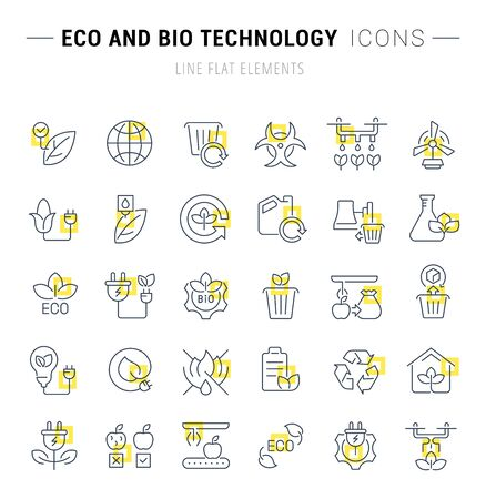 Set of vector line icons and signs with yellow squares of eco and bio technology for excellent concepts. Vectores