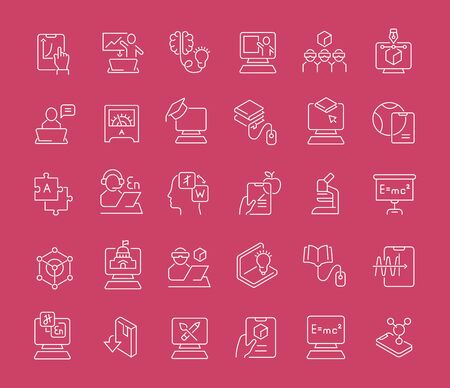Conjunto de iconos de líneas vectoriales de tecnología educativa para aplicaciones, web y conceptos modernos.