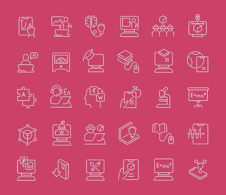 Zestaw ikon linii wektora technologii edukacyjnej dla nowoczesnych koncepcji, sieci i aplikacji.