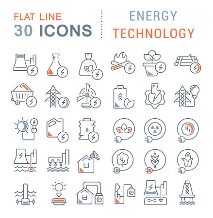 Set of vector line icons of energy technology for modern concepts, web and apps. Vecteurs