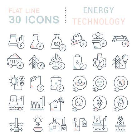 Satz von Vektorliniensymbolen der Energietechnologie für moderne Konzepte, Web und Apps.