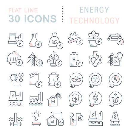 Set of vector line icons of energy technology for modern concepts, web and apps. Stock Illustratie