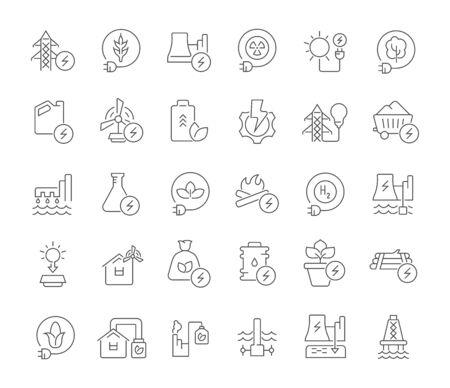 Ensemble d'icônes de ligne vectorielle de technologie énergétique pour les concepts modernes, le Web et les applications. Vecteurs