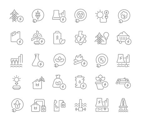 Set of vector line icons of energy technology for modern concepts, web and apps. Иллюстрация