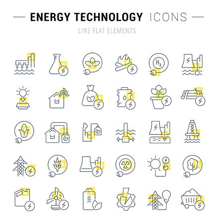 Set of vector line icons and signs with yellow squares of energy technology for excellent concepts.