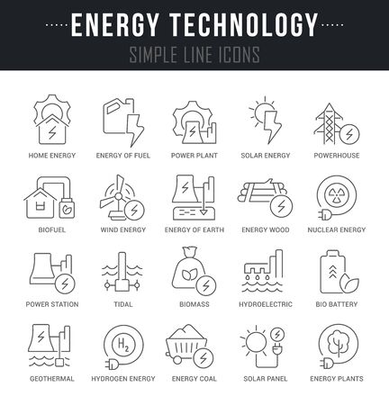 Collection linear icons of energy technology with names.