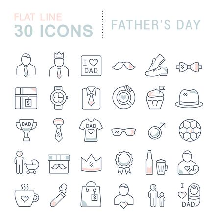 Ensemble d'icônes de ligne vectorielle de la fête des pères pour les concepts modernes, le web et les applications. Vecteurs