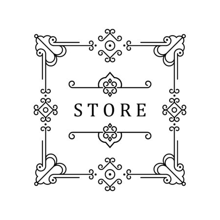 Plantilla para logotipos, monogramas y etiquetas de lujo. Marco con bordes para un restaurante, realeza, boutique, hotel, heráldica, joyería, moda y otra ilustración vectorial.