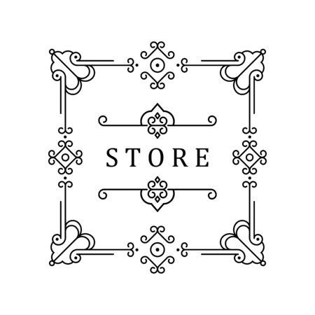 Vorlage für Luxuslogos, Monogramme und Etiketten. Rahmen mit Grenzen für ein Restaurant, eine Lizenz, eine Boutique, ein Hotel, eine heraldische, Schmuck-, Mode- und andere Vektorgrafik.