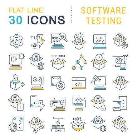 Set of vector line icons of software testing for modern concepts, web and apps. Ilustração
