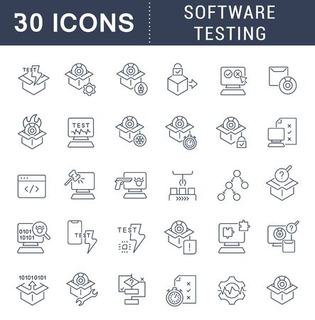 Set of vector line icons of software testing for modern concepts, web and apps. Ilustración de vector