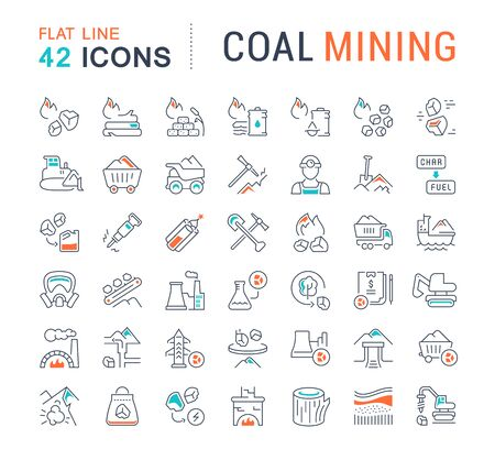 Set of vector line icons of coal mining for modern concepts, web and apps.