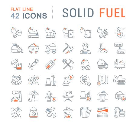 Set of vector line icons of solid fuel for modern concepts, web and apps. Иллюстрация
