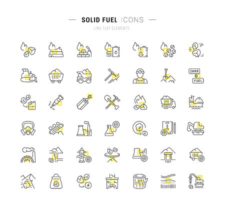 Set of vector line icons and signs with yellow squares of solid fuel for excellent concepts.