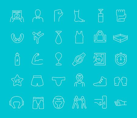 Collection of line white icons of ufc. Set of vector simple elements with bold outlines on a color background. Info graphics signs and pictograms.
