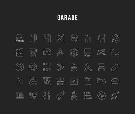 Conjunto de iconos de líneas vectoriales, signos y símbolos de servicio de garaje y coche para aplicaciones, web y conceptos modernos. Colección de elementos de infografía, logotipos y pictogramas.