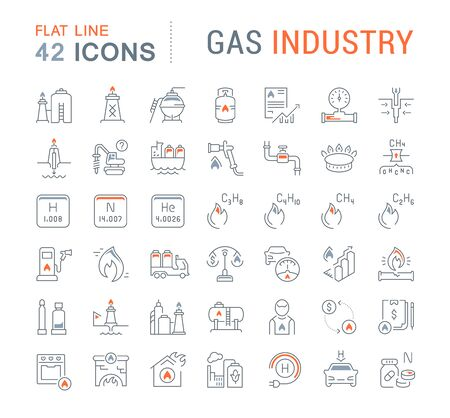 Set of vector line icons of gas industry for modern concepts, web and apps.