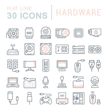 Set of vector line icons, sign and symbols with flat elements of hardware for modern concepts, web and apps.