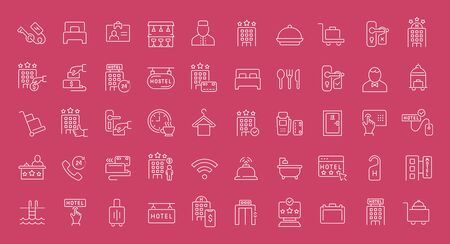 Collection of line white icons of hotel business. Set of vector simple elements with bold outlines on a color background. Info graphics signs and pictograms. Ilustração Vetorial