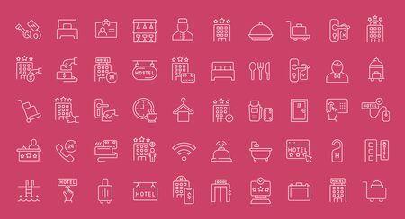 Collezione di icone bianche di linea del settore alberghiero. Insieme di elementi semplici vettoriali con contorni in grassetto su uno sfondo colorato. Segni grafici e pittogrammi informativi. Vettoriali