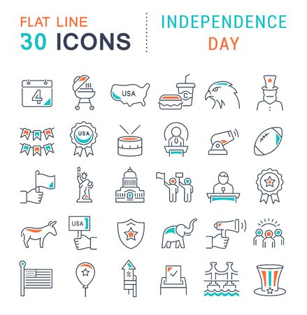 Set of vector line icons of independence day for modern concepts, web and apps.