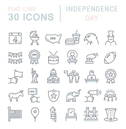 Ensemble d'icônes de ligne vectorielle du jour de l'indépendance pour les concepts, le web et les applications modernes. Vecteurs