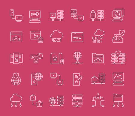 Collection d'icônes de ligne blanche de la technologie Internet. Ensemble d'éléments vectoriels simples avec des contours audacieux sur un fond de couleur. Infos graphiques signes et pictogrammes.