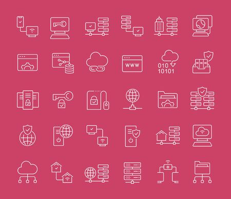 Collection of line white icons of internet technology. Set of vector simple elements with bold outlines on a color background. Info graphics signs and pictograms.