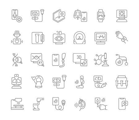 Satz von Vektorliniensymbolen der Medizintechnik für moderne Konzepte, Web und Apps.