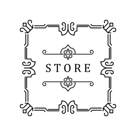 Template for luxury logos, monograms, and labels. Frame with borders for a restaurant, royalty, boutique, hotel, heraldic, jewelry, fashion, and other vector illustration.