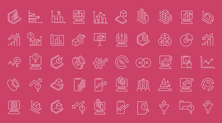 Collection of line white icons of web analytics. Set of vector simple elements with bold outlines on a color background.