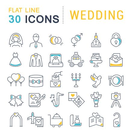 Set of vector line icons of wedding for modern concepts, web and apps.