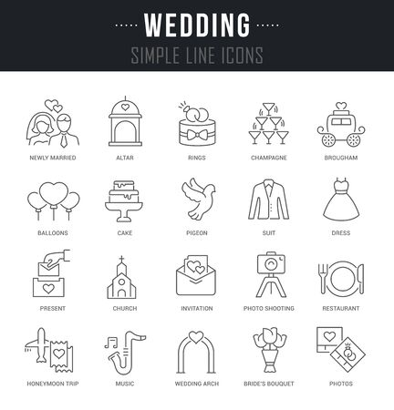 Collection linear icons of wedding with names.