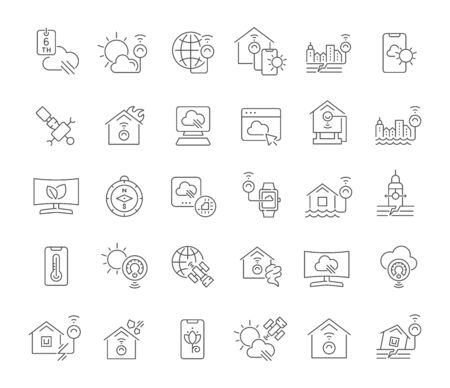 Set of vector line icons of natural technology for modern concepts, web and apps.