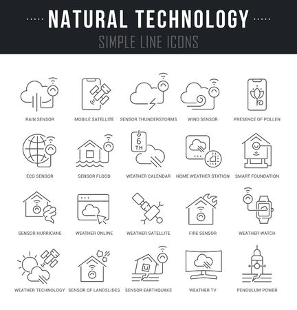 Collection linear icons of natural technology with names. Illustration