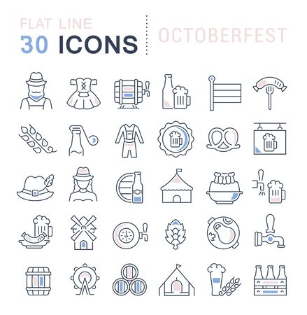 Set of vector line icons of octoberfest for modern concepts, web and apps. Illustration
