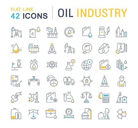 Set of vector line icons of oil industry for modern concepts, web and apps. Çizim
