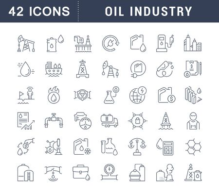 Set of vector line icons of oil industry for modern concepts, web and apps. Illustration