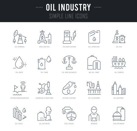 Collection d'icônes linéaires de l'industrie pétrolière avec des noms. Vecteurs