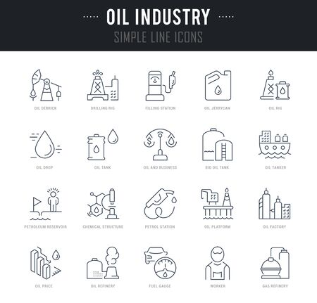 Collection linear icons of oil industry with names.