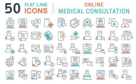 Satz von Vektorliniensymbolen der medizinischen Online-Beratung für moderne Konzepte, Web und Apps.