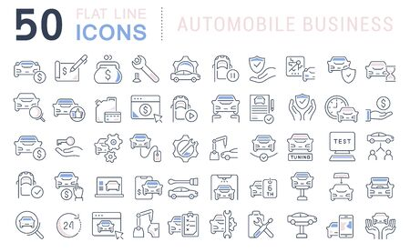 Set of line icons of automobile business for modern concepts, web and apps.