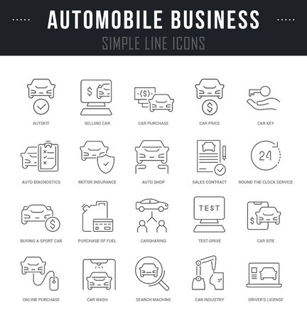 Collection linear icons of automobile business with names. Ilustración de vector