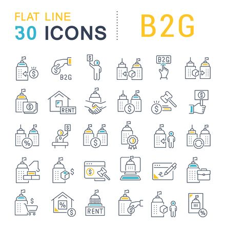 Set of line icons of B2G for modern concepts, web and apps. Çizim