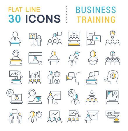 Conjunto de iconos de formación empresarial para aplicaciones, web y conceptos modernos. Ilustración de vector