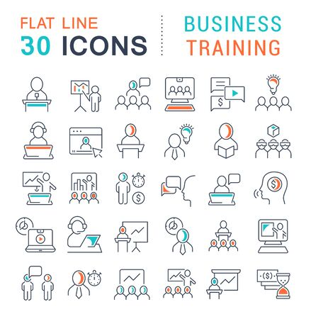 Set of icons of business training for modern concepts, web and apps.