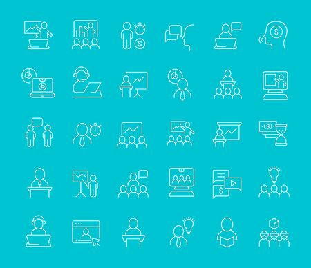Set of line icons of business training for modern concepts, web and apps. Illusztráció