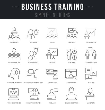 Collection linear icons of business training with names. Illusztráció